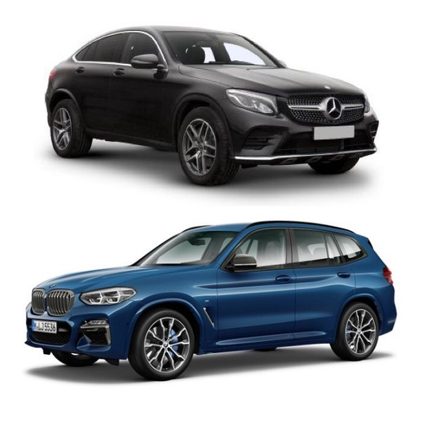 Mercedes GLC Coupe  or  BMW X3 M-Sport⠀ ⠀ Which would you choose?⠀ ⠀ We have both available now on a range of contract types. Call for a quote on 01332 290173 or send us a message on here.