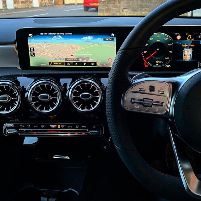 The new Mercedes A Class Dashboard is brilliant! So much information accessible without taking your hands off the wheel!  Controllable by speech or buttons!