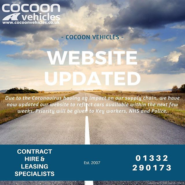 Our website is currently being updated with cars that are readily available.  Unfortunately due to the current situation our supply is restricted to these vehicles and offers are limited.  Please see our website for details