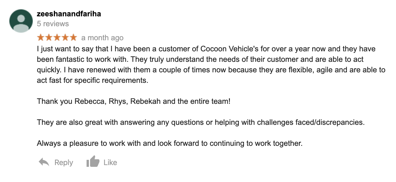 Zeeshan - Customer Review from Google