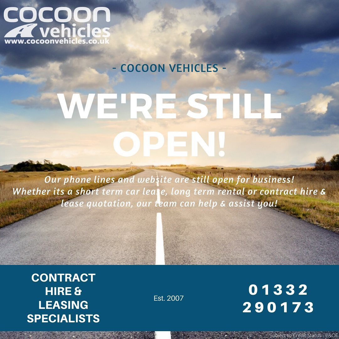We're still open!  Our phone lines and website are open for business! We're accepting enquiries and applications as normal.  Need a car urgently? We can help!