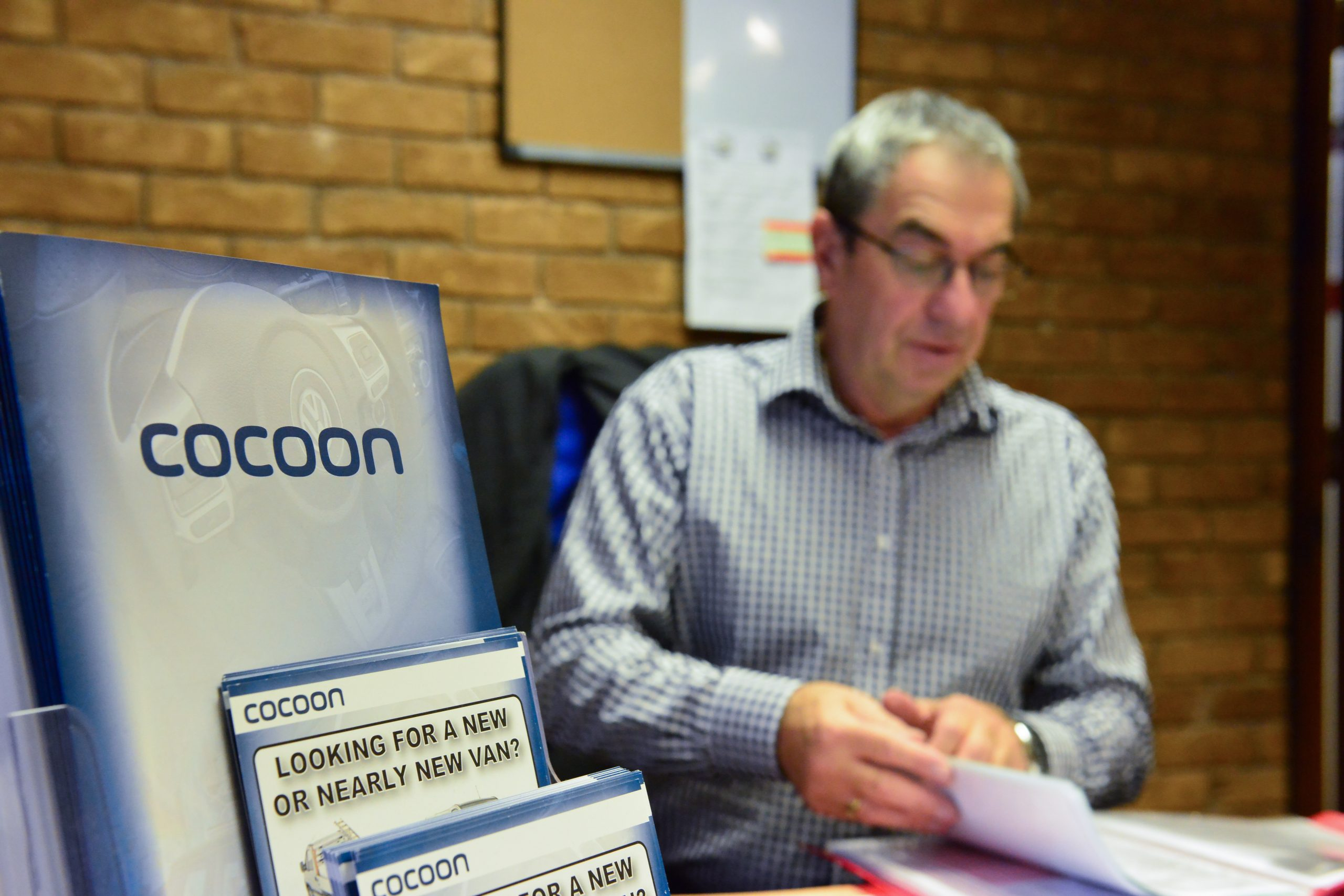 Paul Stone at his desk in Cocoon